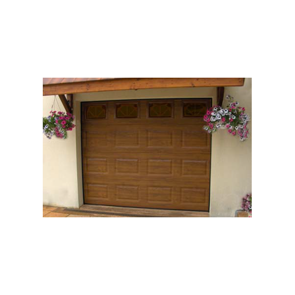 Porte de garage sectionnelle finition ext rieur for Porte bois exterieur garage
