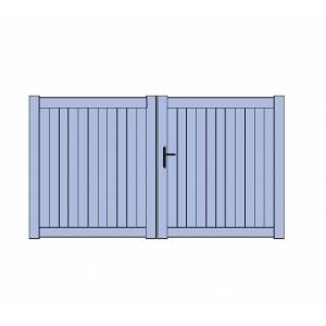 Portail battant aluminium plein portes de garage sur for Motorisation porte de garage battant