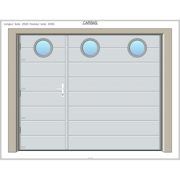 Carbas 40 mm avec portillon portes de garage sur mesure aamis for Porte de garage battante